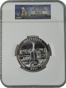 2011 Gettysburg America The Beautiful ATB 5 Oz Silver Coin NGC MS69 PL ER Label