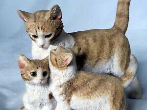 SHERRAT & SIMPSON  GINGER & WHITE  CAT WITH TWO KITTENS