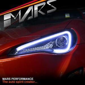 Black 3D LED Stripe Bar DRL Projector Head Lights LED Indicator for Toyota 86 GT