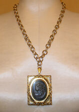 1940's Adolph Katz Cameo Locket Necklace by Coro Patent 121349
