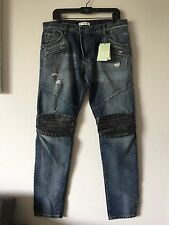 NWT PIERRE BALMAIN DISTRESSED COATED KNEE SLIM FIT JEANS SIZE 34 MADE IN ITALY