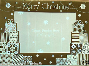 "4 CHRISTMAS PHOTO FRAME CARDS & ENVELOPE, PHOTO SIZE 4"" X 6"", golden parcels"