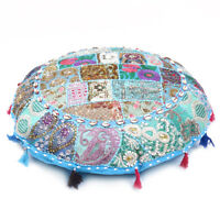 Turquoise Round Floor Pillow Cushion Round  Bohemian Patchwork Pillow Cover