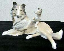 Lladro Daisa Collie Dog Mother with Puppy Porcelain Figurine #6459  -W-