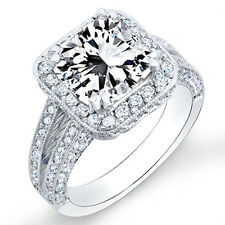 1.81 Ct. Radiant Cut & Round Pave Diamond Halo Engagement Ring 14K D,VS1 GIA