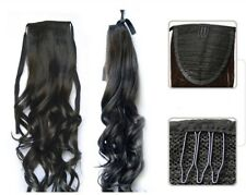 Clip On Off Black Wavy PonyTail Hair Extensions 1B#