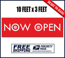 Now Open Banner Sign - 10 feet x 3 ft - Heavy Duty Outdoor Vinyl New Store Signs