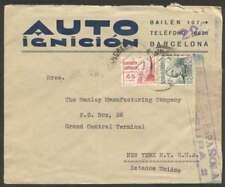 Spain To Usa Republica Censor Cover 1938 2 Stamps