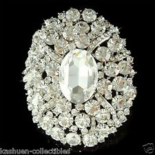 "3"" Huge w Swarovski Crystal ~Oval Sash Bouquet Bridal Wedding Dress Pin Brooch"