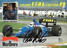 Volker Weidler  SIGNED, Team Rial Racing  Promo Photo 1989 Grand Prix Season