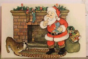 Christmas Xmas Santa Claus Bull Dog Chimney Postcard Old Vintage Card View Post
