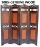 4 PANEL VICTORIAN WOODEN SCREEN ROOM DIVIDER FOLDABLE  PARAVENT PARTITION