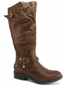 Baretraps Women's Yanessa2 Wide Calf Riding Boots Brush Brown Size 5 M