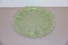 One Green Cherry Blossom Three Footed Cake Plate Near Mint - Jeannette Glass Co