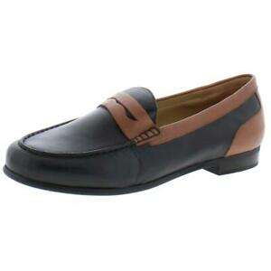 Array Womens Harper Black Leather Penny Loafers Shoes 12 Medium (B,M) BHFO 3585