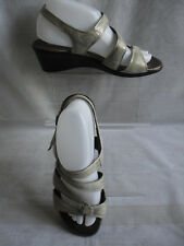SAIMON WOMENS  SILVER LEATHER SUMMER ANKLE STRAP SANDALS SZ:6/39(WHS317)