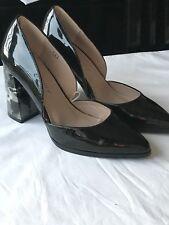 Dolcis Black Patent Ladies Block Heel Shoes Size 4