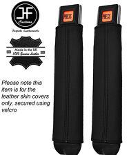 Noir Surpiqûres 2X Seat Belt Stalk Leather Covers Fits Jeep Wrangler YJ 87-90