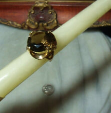 Art Deco Vintage 14k Gold Very Heavy Smoky Topaz Ring Fits Size 7 & 6.5