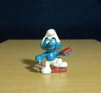 Smurfs 20148 Bricklayer Smurf Handy Rare Vintage Figure PVC Toy Figurine 1980s