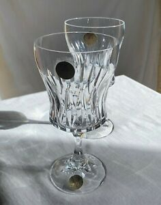 Schott-Zwiesel TWO tall cut crystal water glasses, with original label. 1980s