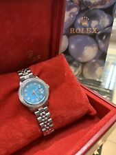 Ladies Rolex Oyster Perpetual Datejust Watch 6516 Stainless Steel 26mm Blue