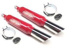 2x Stepped Cherry Bombs Slash Cut Red Rear Silencer + Mtg + Bracket 42mm