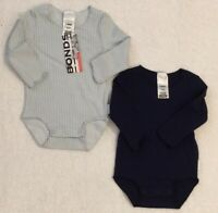 Bonds x 2 Wonderbodies Long Sleeve Bodysuits Size 000 (0-3 Months) NEW WITH TAGS