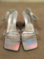 Ladies Silver Strappy Heeled Lace Up Sandals  Size 4 By Varanni