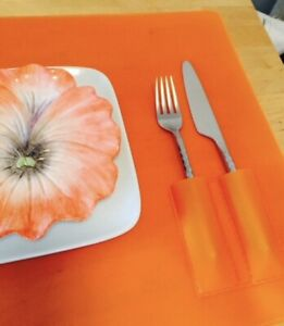 Set of 6 Large Orange Silicone/Plastic Placemats with Pocket for Utensils
