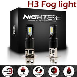 NIGHTEYE 160W H3 LED Fog Lights Bulbs Car Driving Replace Conversion Kit 6500K