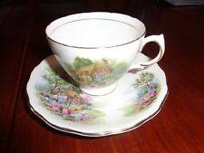 Pretty Royal Vale Cottage Scene Cup And Saucer