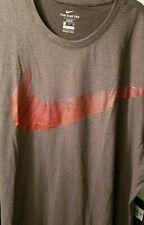 Nike Gray Red Dri Fit Mens Big Tall Logo Short Sleeve Shirt 4xlt 4xl 4x