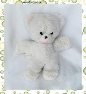 Doudou Peluche Ours Blanc Vintage Grelot Boulgom 22 cm