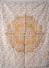 Indian OMBRE MANDALA White & Gold Poster Wall Hanging Cotton Home Decor