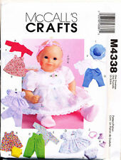 "MCCALL'S SEWING PATTERN 4338 BABY DOLL CLOTHES IN TWO SIZES: 11""-13"" & 14""-16"""