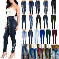 Damen Hohe Taille Skinny Legging Röhrenjeans Stretch Jeans Treggings Jeggings 48