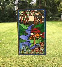 Large Handcrafted stained glass window panel Deer Drinking Water