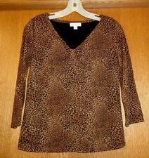 Woman's sz S - Leopard print TOP - Charter Club - V-neck, torso lined - Nylon