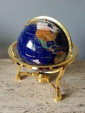 Genuine Gemstone  GLOBE  BLUE LAPIS  Desktop TRIPOD Gold Base WORLD