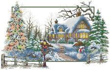 14 count aida needlepoint cross stitch winter season kit w colorful chart J116