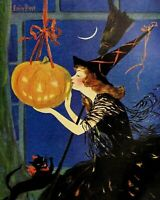 Halloween Witch Black Cat Broom Jack O Lantern by Emily Hand 8 X 10 PRINT