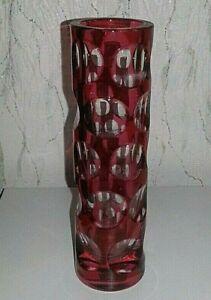 CRANBERRY GLASS CUT TO CLEAR OPTICAL LENS/ILLUSION VASE - NACHTMANN BLEIKRISTALL