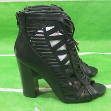 "new ladies Black 4""High Block Heel Open Toe  lace up Sexy Shoes Size  7"