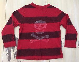 SKULL & CROSS BONES SHIRT: Boys Red/Black Striped LS Faded Glory T-shirt, XS 4/5