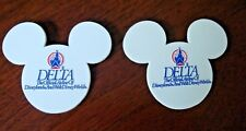 DELTA AIRLINES DISNEY PINS (2) ORIGINAL 1980's MOUSE EARS OFFICIAL ADVERTISING