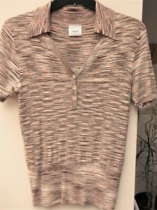 NEXT TOP WITH COLLAR AND BUTTON V NECK SIZE 8