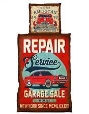 4 tlg Wende Bettwäsche 135x200cm American Vintage Old Car 2 Garnituren