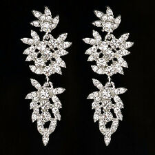 Long Crystal Drop Earrings Diamante Rhinestone Silver Dangle Bridal Wedding Prom