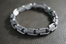Black Silver Gothic Chain Bracelet For Harley Motor 1% Er Outlaw Hell Biker 243